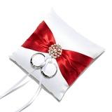Mini Ring Kissen in Satin mit Schleifenbänder/Stoffgürtel/Strasssteine (103053068)