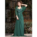 A-Linie/Princess-Linie Herzausschnitt Sweep/Pinsel zug Chiffon Kleid für die Brautmutter mit Rüschen Spitze Perlen verziert Pailletten (008018747)
