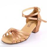 Kinder Satin Sandalen Flache Schuhe Latin mit Knöchelriemen Tanzschuhe (053025578)