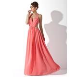 A-Line/Princess Halter Floor-Length Chiffon Holiday Dress With Ruffle Beading (020025951)