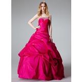 Duchesse-Linie Trägerlos Bodenlang Taft Quinceañera Kleid (Kleid für die Geburtstagsfeier) mit Rüschen Perlen verziert (021002893)