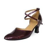 Vrouwen Patent Leather Hakken Pumps Moderne met Enkelriempje Dansschoenen (053013045)
