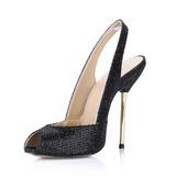 Glittrande Glitter Stilettklack Sandaler Peep Toe Slingbacks skor (087022623)
