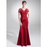 Trompete/Meerjungfrau-Linie V-Ausschnitt Bodenlang Satin Kleid für die Brautmutter mit Spitze Perlen verziert (008005754)