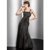 A-Linie/Princess-Linie Bodenlang Taft Abendkleid mit Rüschen Perlen verziert Applikationen Spitze (017014828)