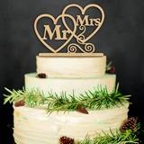 Cuore/Mr & Mrs Legno Decorazioni per torte (Venduto in un unico pezzo) (119187350)