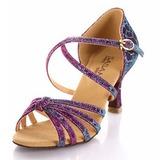 Femmes Tissu Talons Sandales Latin avec Lanière de cheville Chaussures de danse (053025585)