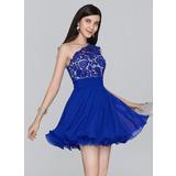 Forme Princesse Seule-épaule Court/Mini Mousseline Robe de soirée étudiante avec Plissé (022124844)