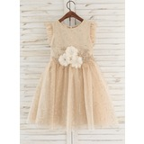 A-Line Knee-length Flower Girl Dress - Tulle Sleeveless Scoop Neck With Flower(s)/Rhinestone (010172334)