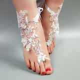 Frauen Lace Peep Toe Sandalen Beach Wedding Shoes mit Stich Spitzen Blume Applikationen (047123799)