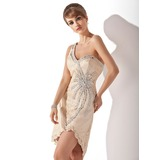 Jacka One-Shoulder Asymmtrisk Spetsar Cocktailklänning med Pärlbrodering (016005852)