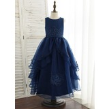 A-Line Ankle-length Flower Girl Dress - Organza/Satin/Lace Sleeveless Scoop Neck With Sequins (010172367)