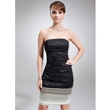 Sheath/Column Strapless Knee-Length Charmeuse Cocktail Dress With Ruffle (016008237)