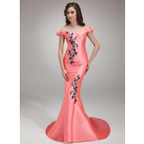 Trumpet/Mermaid Off-the-Shoulder Sweep Train Satin Prom Dress With Beading Appliques Sequins (018018817)