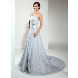 A-Line/Princess Strapless Chapel Train Lace Wedding Dress With Beading (002000173)