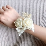 Delicate Hand-tied Lace/Silk Flower Wrist Corsage - (123205636)
