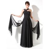 A-Linie/Princess-Linie V-Ausschnitt Watteau-falte Chiffon Festliche Kleid mit Rüschen (020036588)