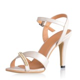 Konstläder Spool Heel Sandaler Slingbacks med Strass skor (087033622)