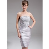 Sheath/Column Scalloped Neck Knee-Length Charmeuse Cocktail Dress With Ruffle Beading (016005853)