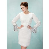 Sheath/Column Scoop Neck Short/Mini Chiffon Homecoming Dress With Ruffle Beading (022009562)