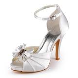 Kvinnor Satäng Cone Heel Peep Toe Plattform Sandaler med Fören Spänne (047005118)