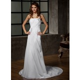 A-linjeformat One-Shoulder Court släp Chiffong Bröllopsklänning med Rufsar Pärlbrodering (002011968)