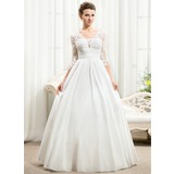 Ball-Gown V-neck Floor-Length Taffeta Lace Wedding Dress With Ruffle Beading Sequins (002056594)