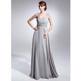 Empire-Linie V-Ausschnitt Bodenlang Chiffon Kleid für die Brautmutter mit Rüschen Perlen verziert (008015070)