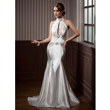 Trumpet/Mermaid High Neck Court Train Charmeuse Prom Dress With Ruffle Beading (018112870)