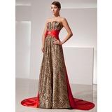 A-Linie/Princess-Linie Herzausschnitt Watteau-falte Charmeuse Abendkleid mit Schleifenbänder/Stoffgürtel Perlen verziert (017014414)