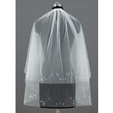 Zweischichtig Ellenbogen Braut Schleier mit Schnittkante (006035498)