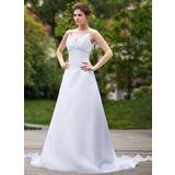 Väldet V-ringning Löstagbar Organzapåse Bröllopsklänning med Rufsar Beading Paljetter (002011667)