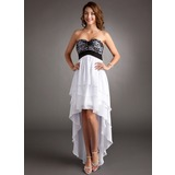 Empire Sweetheart Asymmetrical Chiffon Lace Homecoming Dress With Ruffle (022008962)