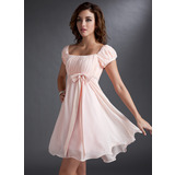 Empire Square Neckline Short/Mini Chiffon Homecoming Dress With Ruffle Beading Sequins Bow(s) (022021033)