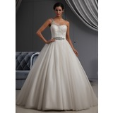 Ball-Gown One-Shoulder Chapel Train Satin Tulle Wedding Dress With Ruffle Beading (002022698)