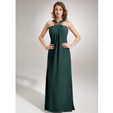 Etui-Linie V-Ausschnitt Bodenlang Chiffon Abendkleid mit Rüschen Perlen verziert (017002609)