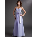 Empire Sweetheart Floor-Length Chiffon Bridesmaid Dress With Ruffle Sash Bow(s) (007000843)