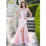 Trumpet/Mermaid One-Shoulder Sweep Train Satin Chiffon Prom Dress With Ruffle Beading Split Front (018024659)