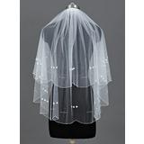 Zweischichtig Ellenbogen Braut Schleier mit Perlenbesetzter Saum (006035429)