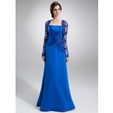 A-Linie/Princess-Linie Trägerlos Bodenlang Satin Kleid für die Brautmutter mit Rüschen Spitze Perlen verziert (008002217)