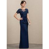 Etui-Linie U-Ausschnitt Bodenlang Spitze Jersey Kleid für die Brautmutter mit Perlstickerei Pailletten (008152150)