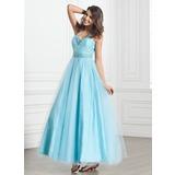 A-Linie/Princess-Linie Träger Knöchellang Tüll Festliche Kleid mit Rüschen Perlen verziert (020026033)
