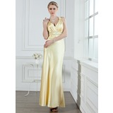 A-Line/Princess V-neck Ankle-Length Charmeuse Evening Dress With Ruffle Beading (017002611)