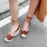 Frauen Echtleder Keil Absatz Sandalen Plateauschuh Geschlossene Zehe Keile mit Zuschnüren Schuhe (116209466)