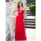 Empire One-Shoulder Floor-Length Chiffon Prom Dress With Ruffle Beading (018024647)