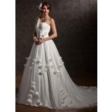 Balklänning One-Shoulder Chapel släp Tyll Bröllopsklänning med Rufsar Pärlbrodering Applikationer Spetsar Blomma (or) (002006373)