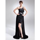 A-Linie/Princess-Linie One-Shoulder-Träger Asymmetrisch Chiffon Kleid für die Brautmutter mit Rüschen Perlen verziert (008015782)