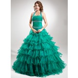 Ball-Gown Halter Floor-Length Organza Quinceanera Dress With Beading Cascading Ruffles (021016348)