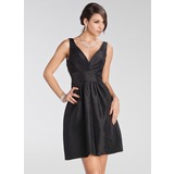 Empire V-neck Short/Mini Taffeta Bridesmaid Dress With Ruffle (007005231)