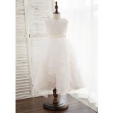 A-Line Tea-length Flower Girl Dress - Organza/Satin/Lace Sleeveless Scoop Neck (010172349)